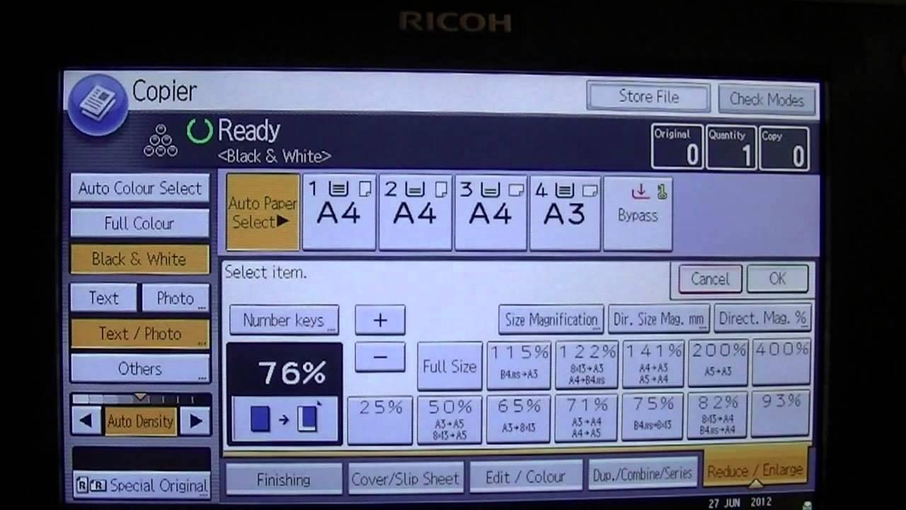 انتخاب کاغذ در دستگاه کپی و پرینتر چندکاره